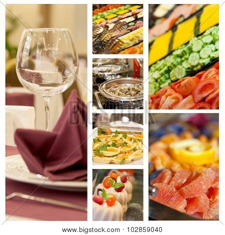 Buffet Set Food Photo Menu Collage