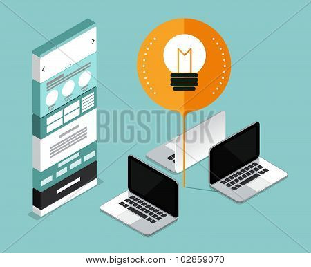 Website Develop Start Up Business. Website Mock Up Concept. Thinking And Idea. Vector Illustration