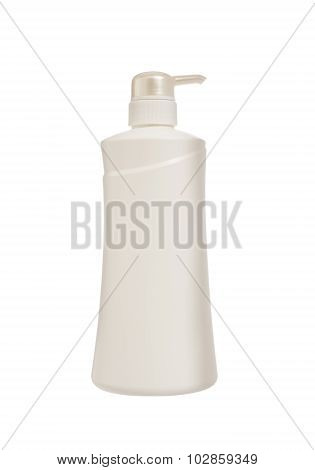Plastic Bottle Of Skin Care Product Isolated, Clipping Path