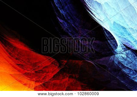 Abstract Yellow And Dark Haze Feather Fractal Background