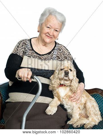 Portrait Of An Old Woman With American Spaniel