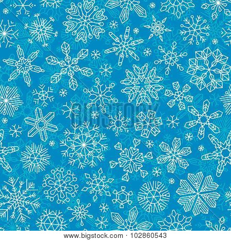 Seamless Outlined Snowflakes Pattern.