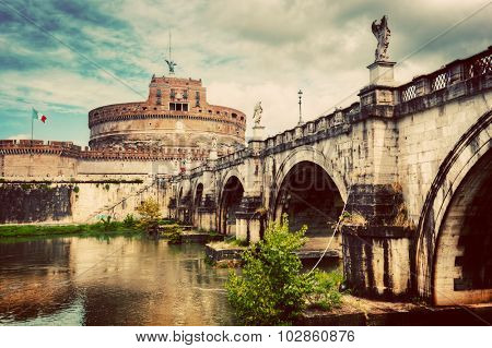 Castel Sant'Angelo, Rome, Italy. View from the other side of the Tiber river and Ponte Sant'Angelo bridge. Vintage
