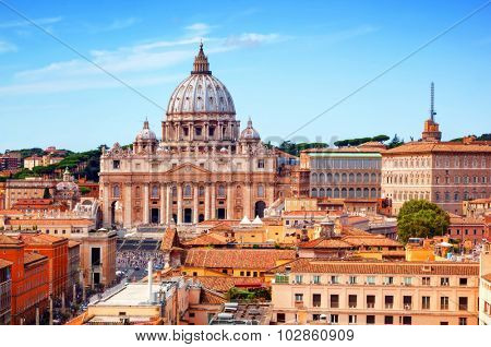 Vatican City. St. Peter's Basilica and Vatican museums. View from Castel Sant'Angelo