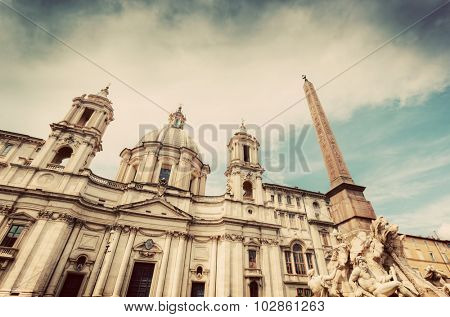 Sant'Agnese in Agone church on Piazza Navona, Rome, Italy. Egyptian Obelisk in foregroung. Vintage