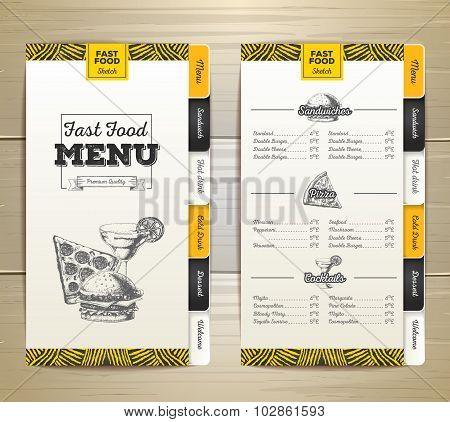 Vintage chalk drawing fast food menu. Sandwich sketch