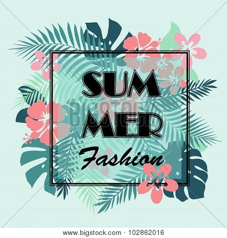 T-shirt Or Poster Design Print With Palm Leaves And Exotic Flowe
