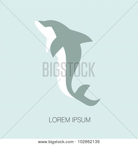 Vector Illustration Of Dolphin.