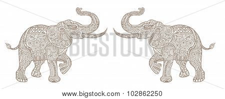 The Stylized An Elephant,hand Drawn Lace Illustration Isolated