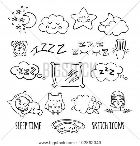 Sleep time sketch icons set isolated vector illustration