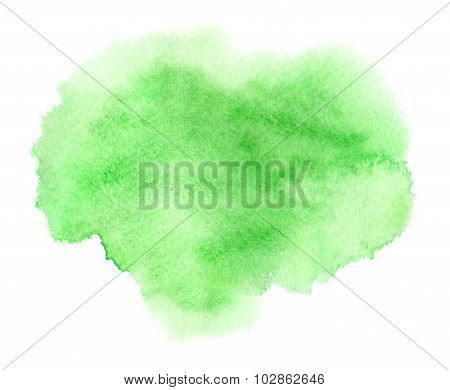 Colorful Green Watercolor Stain With Aquarelle Paint Wet Blotch