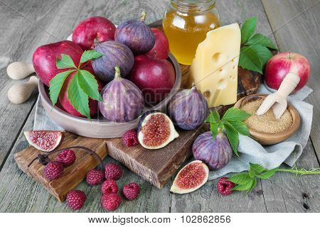 Summer Still Life With Figs And Cheese