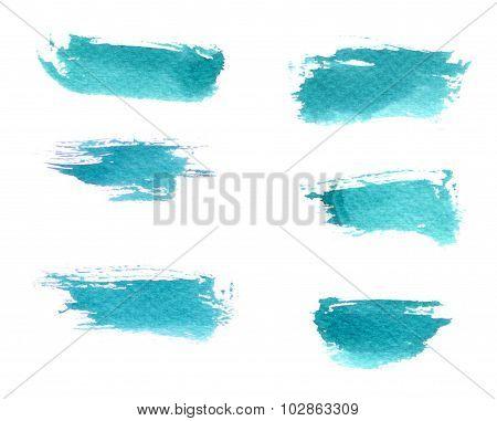 Cyan Brush Strokes Set. Watercolour