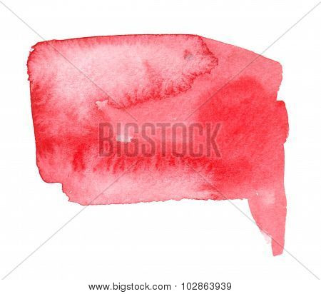 Bright Red Watercolor Blob With Watercolour Paint Brush Stroke