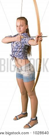 Teen girl in shorts practicing archery on white