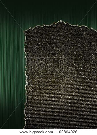 Green Frame With Gold Border And Black Background. Element For Design. Template For Design.