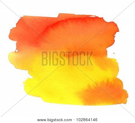 Abstract Yellow-orange Watercolor Spot