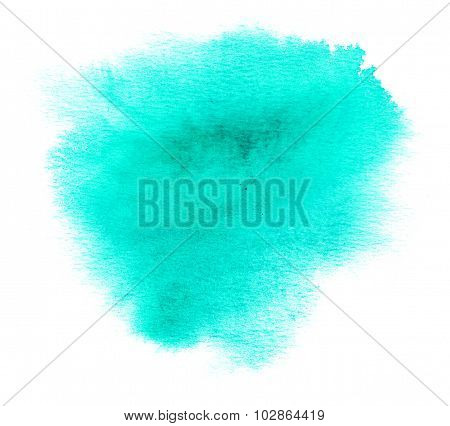 Cyan Watercolor Or Ink Stain With Paint Blotch