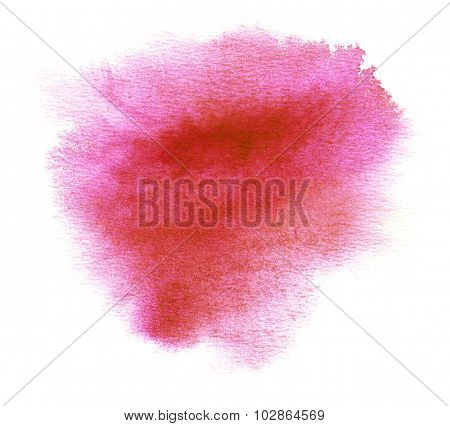Red Watercolor Stain With Blotch And Brush Strokes