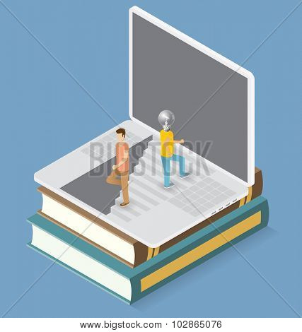 Idea concept. Vector flat isometric with lamp head man