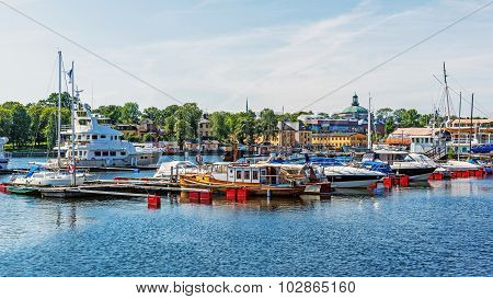 Boats moored at the Djurgarden Island.