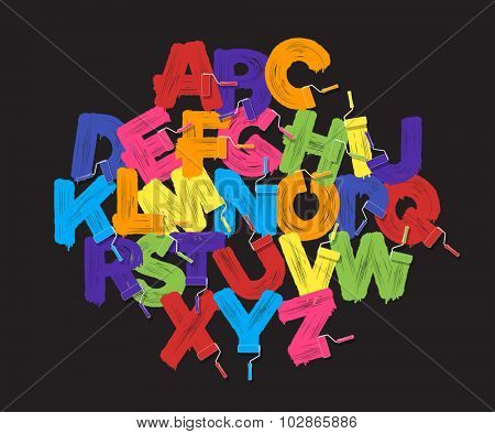 Roller brush alphabet font set. Bright colors paint rollers on black background