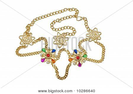 lady jewelery gold necklace on white background