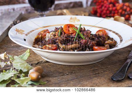 Buckwheat With Bolognese Sauce, Mushrooms