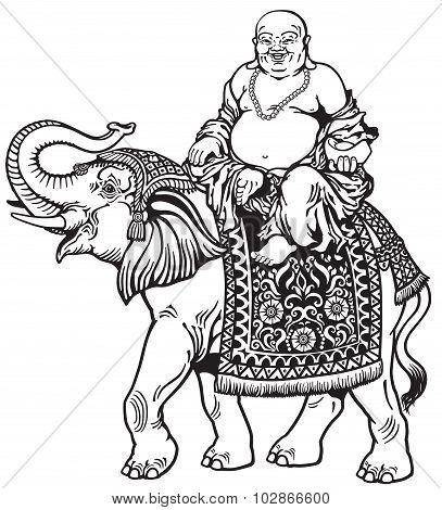 Buddha And Elephant Black White.eps