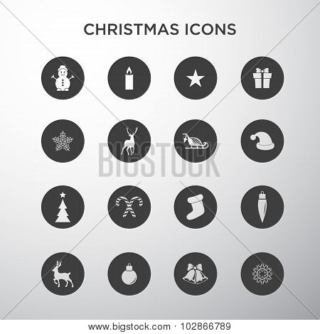 Christmas icons in circles