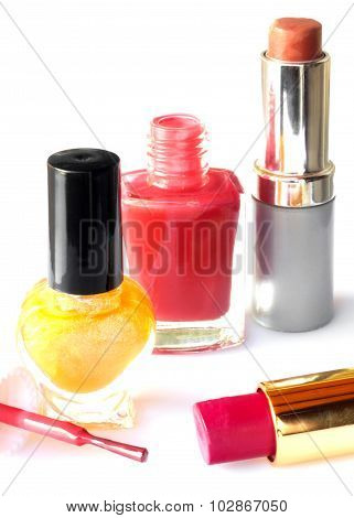 Cosmetics isolated on white closeup