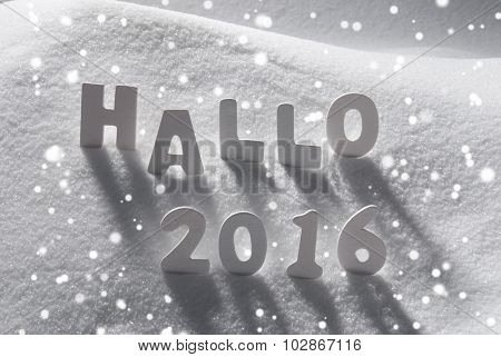 White Christmas Word Hallo 2016 Means Hello On Snow, Snowflakes