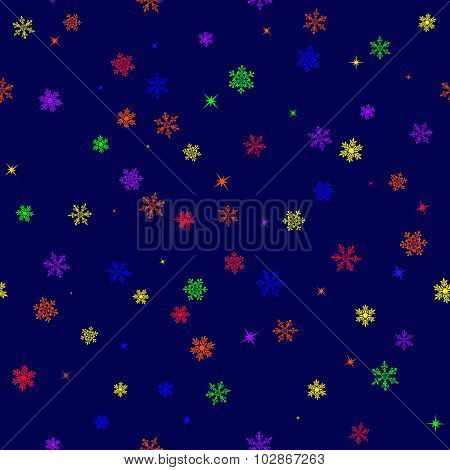 Seamless Pattern With Six-colored Rainbow Snowflakes