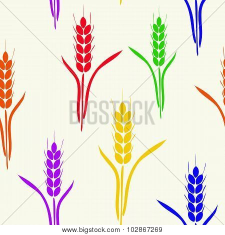 Seamless Pattern With Six-colored Rainbow Wheat Spikes