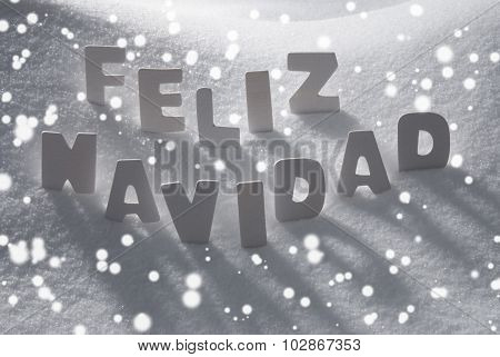 White Feliz Navidad Means Merry Christmas On Snow, Snowflakes