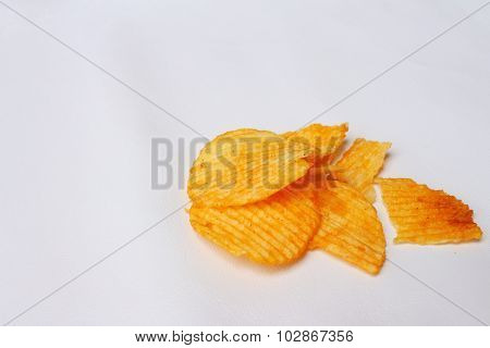 Potatoes Sheet On A Background Of White