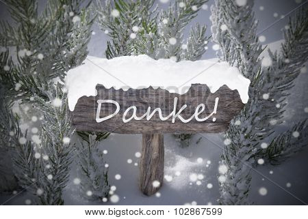 Christmas Sign Snowflakes Fir Tree Danke Mean Thanks