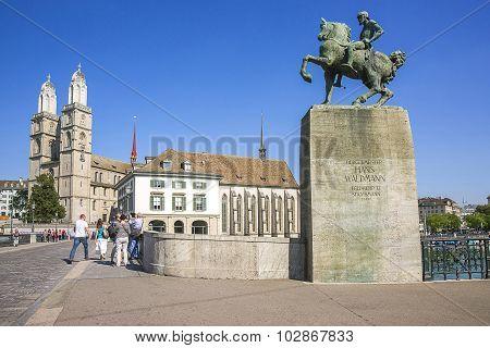 Zurich City Center And Monument To Hans Waldmann, Switzerland