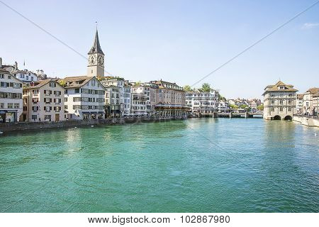 Zurich City Center And Quay Of Limmat In Summertime