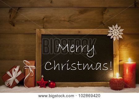 Festive Card, Blackboard, Snow, Candles, Merry Christmas