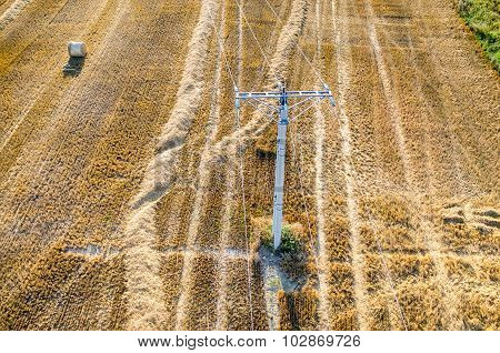 The Powerlines On The Wheat Stubble