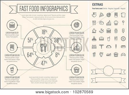 Fast food infographic template and elements. The template includes the following set of icons - noodles, slice pizza, french fries, popsicle, hotdog, barbecue, soda, ice cream, popcorn and more
