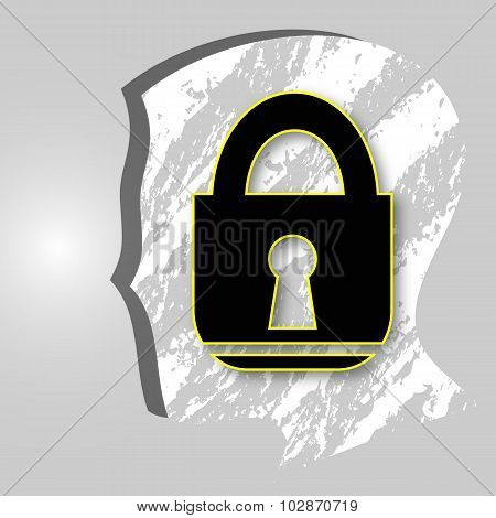 Head With A Lock Icon