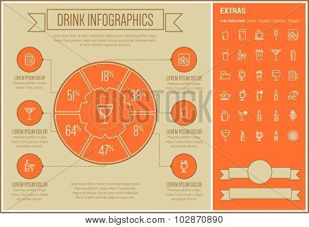 Drink infographic template and elements. The template includes the following set of icons - champagne, orange jiuce, hot choco, liquor, martini, tea, shake and more. Modern minimalistic flat thin line