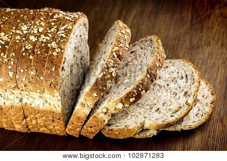 Macro Closeup Of Multi-grain Whole Wheat Loaf Of Bread