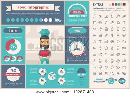 Food infographic template and elements. The template includes illustrations of hipster men and huge awesome set of thin line icons. Modern minimalistic flat vector design.