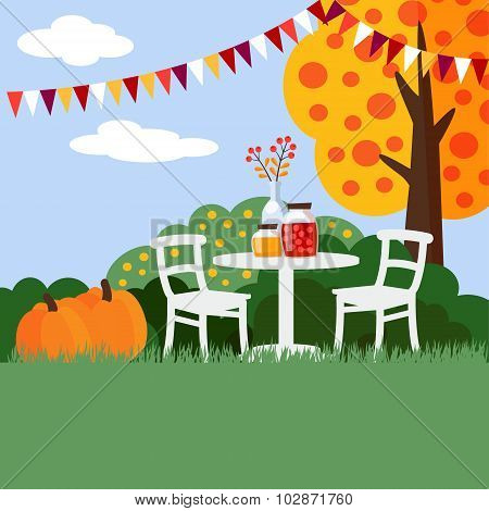 Autumn, Fall Garden Party Background, Flat Design, Vector