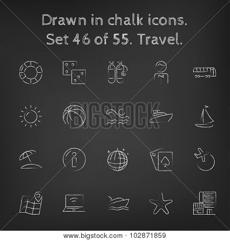 Travel icon set hand drawn in chalk on a blackboard vector white icons on a black background.