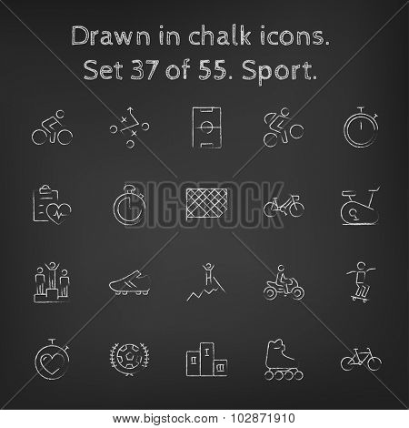 Sport icon set hand drawn in chalk on a blackboard vector white icons on a black background.