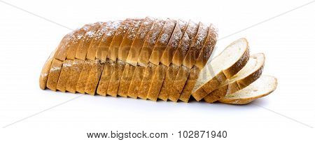 Horizontal View Of Loaf Of White Bread Isolated Studio